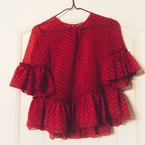 H&M Red Party Blouse